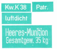 STENCIL SET FOR WW2 GERMAN AMMO SHELL BOX CASE CONTAINER  5CM KwK 38 PANZER III