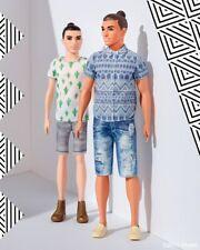 Ken Fashionistas Distressed Denim 13 and Cactus Cooler Hipster 16 with Man Bun