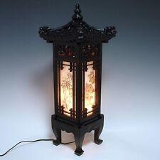 Wooden Shade Asian Oriental House Lantern Bedside Dragon Design Table Lamp Light