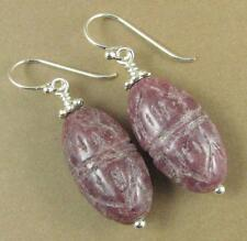 Rhodonite carved earrings. Dusty pink / mauve.Tibetan. Sterling silver 925.