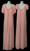 Vtg Maidenform Dreamwear Nylon Long Nightgown Robe Set S fits Medium/Large Peach