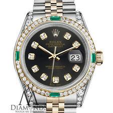 Women's Rolex SS & Gold 26mm Datejust Chocolate Diamond Emerald Dial