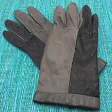 Vtg Black & Gray Leather Driving Gloves Womens Sz 7.5 Two Tone Estate Find