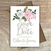 Personalised Save the Date Wedding Cards PINK/GREY/FLORAL packs of 10
