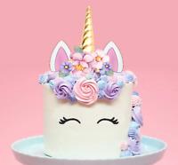 Large 2D Unicorn Horn & Flowers Edible Wafer Cake Topper Decoration DIY #147
