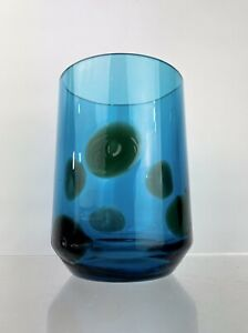 Whitefriars KingFisher Blue Green Spot 9702 Art Glass Vase Geoffrey Baxter