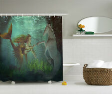 Mermaid with Seahorse Underwater World Fantasy Design Extra Long Shower Curtain