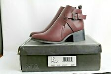 "Mia Women's Shoes Nahira Slip on Ankle Boots Burgundy Size 6 Brand New 2"" Heel"
