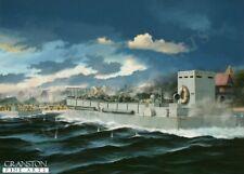 Normandy Sword Beach Naval art post card Royal Marine Commandos canadian Infantr
