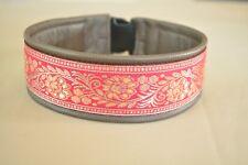 Hundehalsband,Windhundehalsband,pink, 5,5cm breit,Leder,Bordüre nach Ihren Maßen
