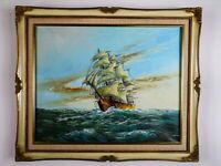 Stunning Vintage Marine Sailing Ship & Nautical Seascape Signed Morgan