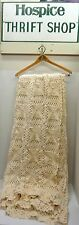 "VINTAGE HANDMADE CROCHET BEDSPREAD / COVERLET 72"" x 83"" Ivory ~~~~square patterm"