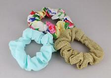 Aqua gold White floral set 3 fabric ponytail holder hair tie elastic scrunchies