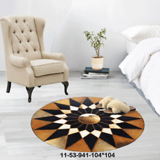 New 100% Cowhide Leather Round Rug Cow Skin Patchwork Area Carpet 1153