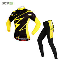 Men Bike Race Long Sleeve Team Clothing Suits Fit Cycling Jersey 4D Padded Pants