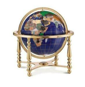Unique Replogle 13in Jewel / Gemstone Inlaid Globe with Compass