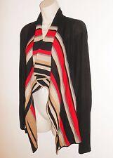 Anne Klein Cardigan Sweater M Open Front Drape Black Red Gold Stripe Medium