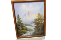 "Vintage Framed Oil Painting On Canvas Mountain Scene 19.5"" x 23"" Signed E Robell"