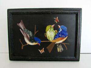 ANTIQUE VICTORIAN ITALIAN PIETRA DURA MOSAIC INLAY BOX CASKET 6'' BIRD BUTTERFLY