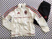 Tuta Felpa Pantaloni Acetato Adidas AC MILAN Bimbo - Bianco Nero Rosso - AZ7115