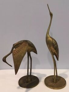 Vintage Set of 2 Brass Cranes One Standing Straight and One Bending Over Korea