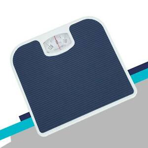 Mechanical Dial Bathroom Scales Weighing Scale Body Weight White Blue 130kg