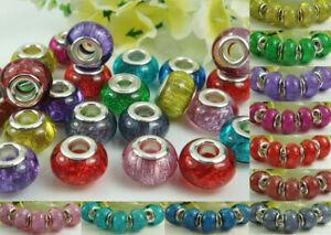 50pcs mix murano DIY Jewelry Charm bead fit European Bracelet beaded gift