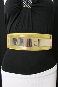New Women Metal Plate Mirror Fashion Belt Hip Waist Black Silver Gold Elastic