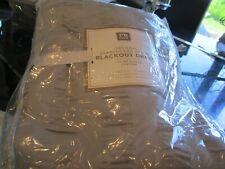 1 Pottery Barn Teen Seersucker stripe drape  44 63 blackout light gray grey New