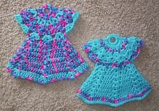 DRESS POTHOLDERS, Crochet, PAIR, New, AQUA AND VARIEGATED BONBON, Handcrafted
