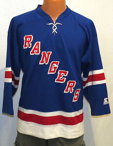 vtg NEW YORK RANGERS STARTER Jersey BOYS L/XL nhl 90s sewn blue throwback ny
