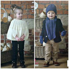 King Cole 4560 Knitting Pattern Childrens Cape Scarf Hat Mittens Fashion Aran
