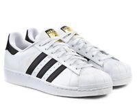 ADIDAS SUPERSTAR ORIGINALS scarpe uomo sportive sneakers pelle bianco passeggio