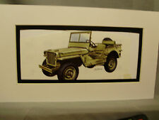 1942 Willys GPW Jeep   Artist Auto Museum Full color artist Illustrated