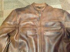 Supreme Leather Men Brown Motorcycle Jacket Size 44 XL