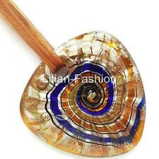 Silver Brown Swirl Triangle Lampwork Glass Murano Bead Pendant Ribbon Necklace