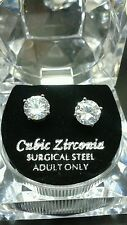 7mm Cubic Zirconia Silver Plated Studs
