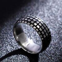 Vintage 8mm Titanium Ringe für Herren für Silber Schwarz Schmuck@yLu#YJS flYfE