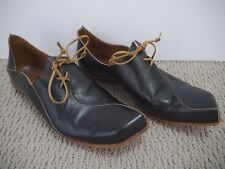 CYDWOQ VINTAGE College dark brown leather lace-up detail flat shoes size 38