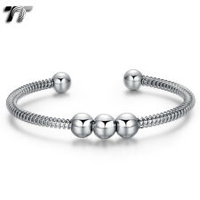 Bead Cuff Bangle (Bs54) New Arrival Mens Womens Silver Tt 316L Stainless Steel