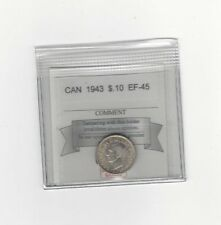 **1943**, Coin Mart  Graded Canadian,  10  Cent, **EF-45**