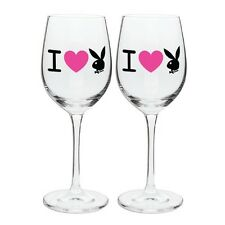 122771 I LOVE PLAYBOY SET OF 2  HEART WINE GLASSES GIFT IDEA BOXED