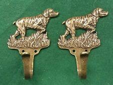 Dog Retriever (?) PAIR SOLID BRASS COAT HOOKS  figure with brass screws