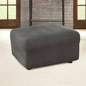 Sure Fit® Stretch Leather Ottoman Slipcover slate brown