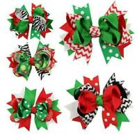 Christmas Bowknot Hairpin Hair Bow Clips Barrette Xmas Decor For Kids Girls Baby