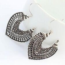 Heart Shape Bronze Texture Drop Earrings Jewellery Dangle Vintage