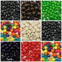 8mm Round Wooden Craft Beads Jewellery Natural Children Hobbies Kids UK SELLER