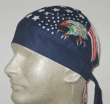 Eagle stars stripes du rag fitted biker skull cap doo do durag
