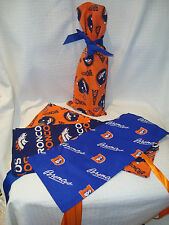 "Denver Broncos NFL Hand Made Cotton Fabric 15""x6.5"" Wine/Gift Bag Cover NEW"