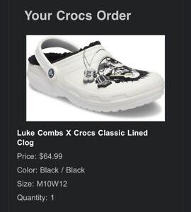 Luke Combs Crocs Skully Fur Lined Clogs Rare LC3 Mens 10 - Order Confirmed